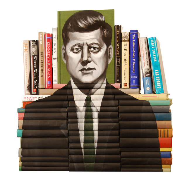"""Portrait of John F. Kennedy"". Commissioned by the Washington Post for the 50th Anniversary of JFK's assassination.  It garnered the front page of the Washington Post on October 27, 2013.  (Photo and caption by Mike Stilkey)"