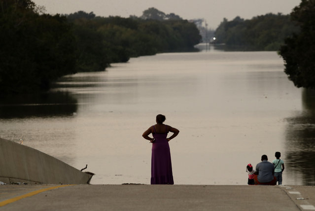 Jessica Anderson, with her husband Darrell and daughters Lauren, and Harper view floodwaters in Addicks Reservoir from a closed freeway in the aftermath of Hurricane Harvey Friday, September 1, 2017, in Houston. (Photo by Charlie Riedel/AP Photo)