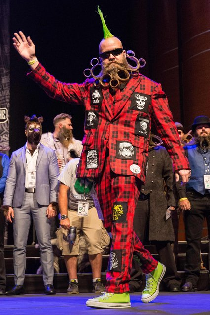 Competitor John Banks at the 2017 Remington Beard Boss World Beard & Moustache Championships held at the Long Center for the Performing Arts on September 3, 2017 in Austin, Texas. (Photo by Suzanne Cordeiro/AFP Photo)