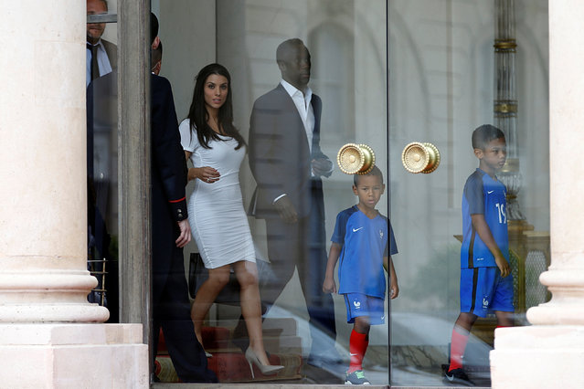France's national soccer team player Bacary Sagna and his partner Ludivine leave the Elysee Palace after lunch at the end of the UEFA 2016 European Championship in Paris, France, July 11, 2016. (Photo by Charles Platiau/Reuters)