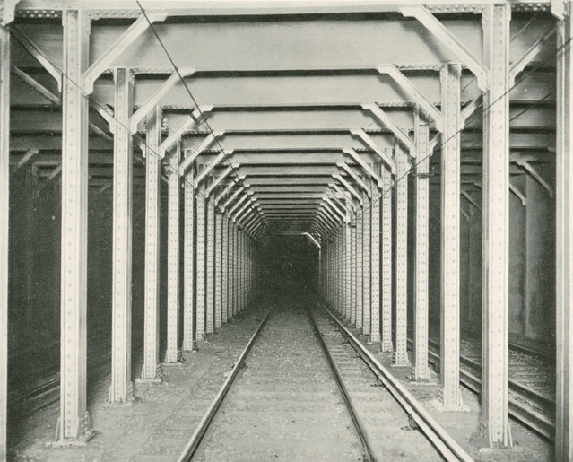 Steel construction in a subway tunnel, 1904. (Photo by New York Interborough Rapid Transit Company/Parsons Collection)