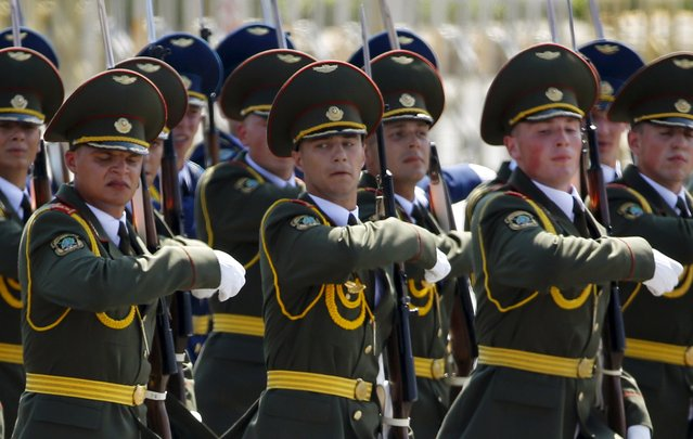 Belarusian soldiers march during the military parade marking the 70th anniversary of the end of World War Two, in Beijing, China, September 3, 2015. (Photo by Damir Sagolj/Reuters)