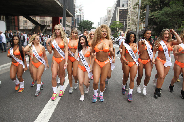 The 27 curvy candidates for this year's eagerly-awaited Miss Bumbum pageant showed off all their assets as they paraded on one of Sao Paulo's busiest streets – Avenida Paulista – for the launch promotional race on August 8, 2016. (Photo by Leo Marinho/Splash News and Pictures)