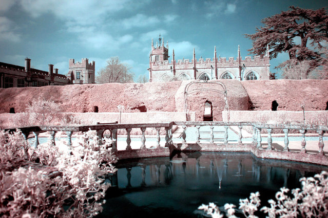 Gardens at Sudeley castle, Gloucestershire pictured in infra-red. These are the stunning images of what looks like a picturesque winter wonderland – but actually shot in the middle of summer. Amateur photographer Catherine Perkinton, 45, has spent the summer travelling around the country to create the fabulous images by utilising infra-red. (Photo by Catherine Perkinton/SWNS/ABACAPress)