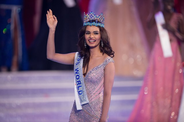Miss India Manushi Chhilar wins the 67 th Miss World contest final in Sanya, on the tropical Chinese island of Hainan on November 18, 2017. (Photo by Nicolas Asfouri/AFP Photo)