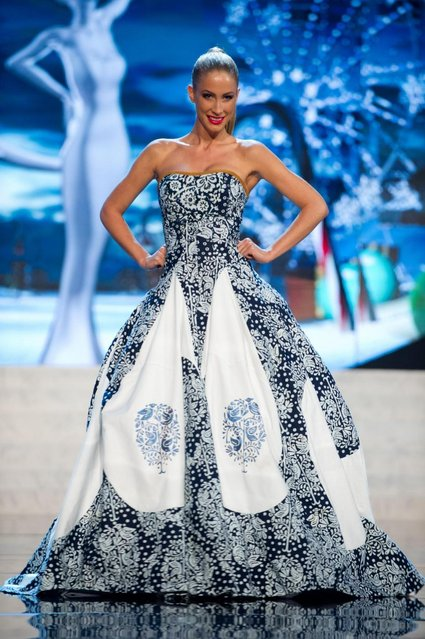Miss Slovak Republic 2012, Lubica Stepanova, performs onstage at the 2012 Miss Universe National Costume Show on Friday, December 14, 2012 at PH Live in Las Vegas, Nevada. The 89 Miss Universe Contestants will compete for the Diamond Nexus Crown on December 19, 2012. (Photo by AP Photo/Miss Universe Organization L.P., LLLP)