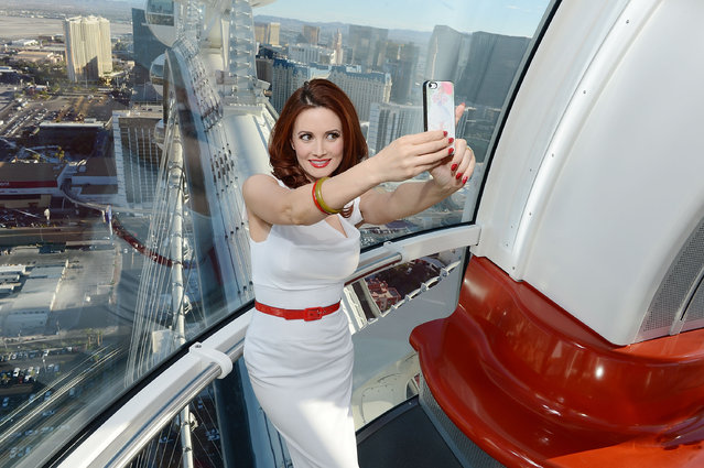 Holly Madison takes a selfie on the High Roller at the Linq on August 24, 2014 in Las Vegas, Nevada. (Photo by Denise Truscello/WireImage)