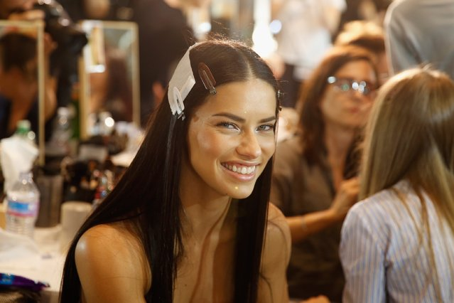 Adriana Lima seen backstage ahead of the Versace show during Milan Fashion Week Spring/Summer 2017 on September 23, 2016 in Milan, Italy. (Photo by Tristan Fewings/Getty Images)