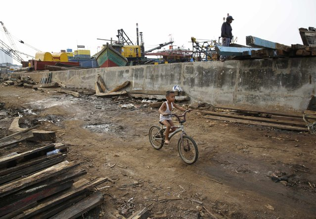 A boy rides his bicycle along the seawall in Muara Baru, north Jakarta, October 7, 2014. (Photo by Darren Whiteside/Reuters)