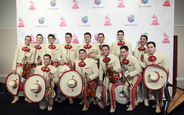 Musical group Mariachi Sol De Mexico poses backstage at the 2015 Latin Grammy Awards in Las Vegas, Nevada November 19, 2015. (Photo by Steve Marcus/Reuters)