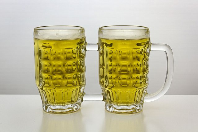 Beer mugs joined with one handle. (Photo by Giuseppe Colarusso/Caters News)
