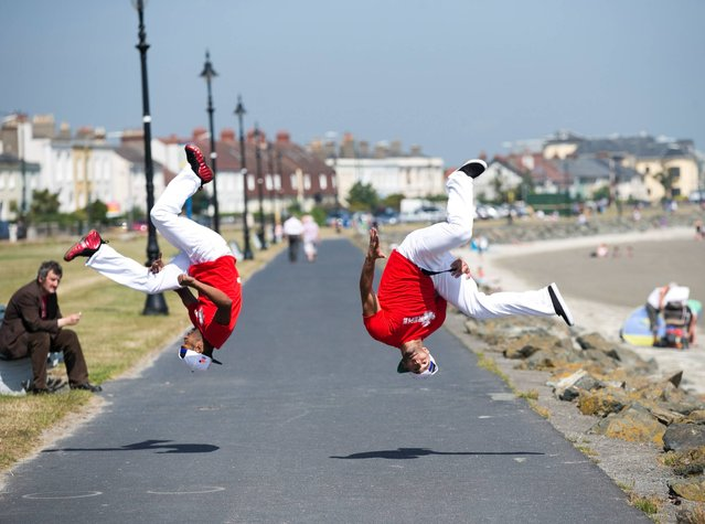New York  Hip Hop dancers from B- Xtreme  are Ready and Cube show off some hip hop moves as they help launch the Laya Healthcare Street Performance World Championship at Sandymount Dublin. (Photo by Leon Farrell/Photocall Ireland)