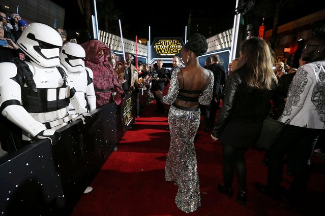 "Actress Lupita Nyong'o arrives at the premiere of ""Star Wars: The Force Awakens"" in Hollywood, California December 14, 2015. (Photo by Mario Anzuoni/Reuters)"