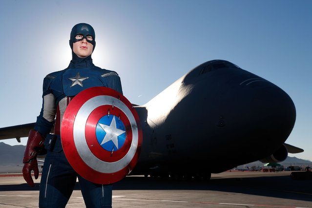 In honor of Vererans Day Madame Tussauds unveils the all-American hero Captain America at Nellis Air Force Base on November 11, 2016 in Las Vegas, Nevada. (Photo by Isaac Brekken/Getty Images for Madame Tussauds Las Vegas)