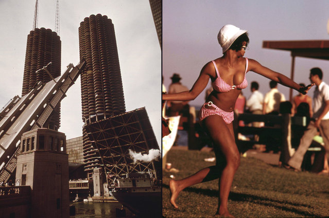 Left: Wabash Street Bridge over the Chicago River, October 1973. Right: A swimsuit-clad woman enjoys a summer outing at Chicago's 12th Street Beach on Lake Michigan, August 1973. (Photo by John H. White/NARA via The Atlantic)