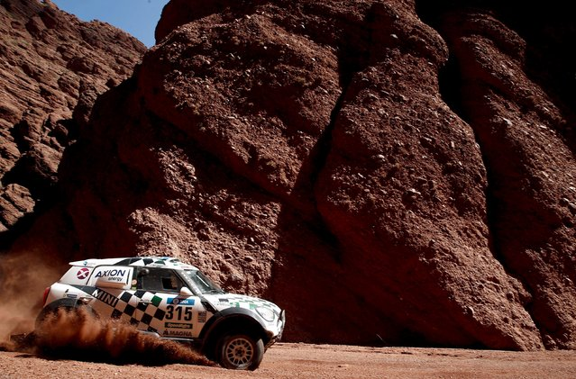 Mikko Hirvonen of Finland drives his Mini during the eighth stage of the Dakar Rally 2016 near Cafayate, Argentina, January 11, 2016. (Photo by Marcos Brindicci/Reuters)