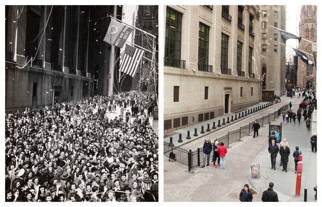 "This combination shows a crowd on Wall Street in the May 1945 photo ""V-E Day"" by Weegee, provided by the International Center of Photography in New York, and the same vantage point in New York on Wednesday, March 18, 2015. (Photo by AP Photo/Copyright Weegee/The International Center of Photography, Mark Lennihan)"