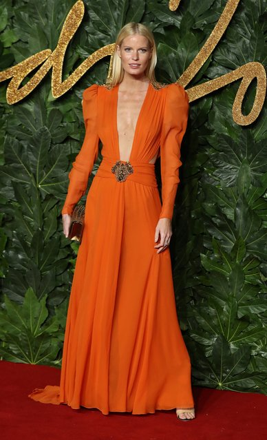 Swedish model Caroline Winberg poses on the red carpet upon arrival to attend the British Fashion Awards 2018 in London on December 10, 2018. (Photo by Daniel Leal-Olivas/AFP Photo)
