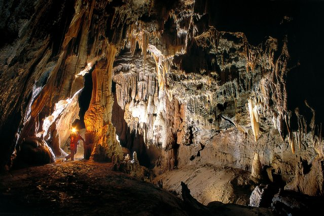 Kostanjevika jama cave, Slovenia. (Photo by Peter Gedei/Caters News)