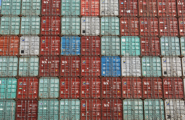 Containers are piled up at Port Botany facilities in Sydney Australia, February 6, 2018. (Photo by Daniel Munoz/Reuters)