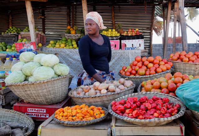 A woman sells vegetables in Banjul, Gambia January 24, 2017. (Photo by Thierry Gouegnon/Reuters)
