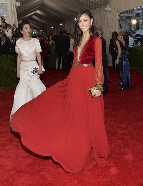 "Qin Shu Pei arrives at The Metropolitan Museum of Art's Costume Institute benefit gala celebrating ""China: Through the Looking Glass"" on Monday, May 4, 2015, in New York. (Photo by Evan Agostini/Invision/AP Photo)"