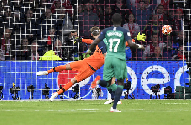 Tottenham goalkeeper Hugo Lloris failing to stop the goal scored by Ajax's Hakim Ziyech during the Champions League semifinal second leg soccer match between Ajax and Tottenham Hotspur at the Johan Cruyff ArenA in Amsterdam, Netherlands, Wednesday, May 8, 2019. (Photo by Martin Meissner/AP Photo)