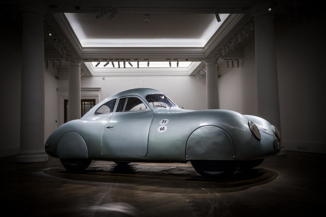 The oldest car to wear the Porsche badge goes on view at Sotheby's on May 21, 2019 in London, England. The only surviving 1939 Porsche Type 64 Berlin-Rome, No. 3, this rare piece of motoring history was the personal car of Ferdinand and Ferry Porsche, predating the first production Porsche, the 356. The car is on view at Sotheby's in London from 21st -24th May prior to being offered for sale by RM Sotheby's in Monterey, California, 15-17th August 2019, with an estimate in excess of $20 million. (Photo by Tristan Fewings/Getty Images for Sotheby's)