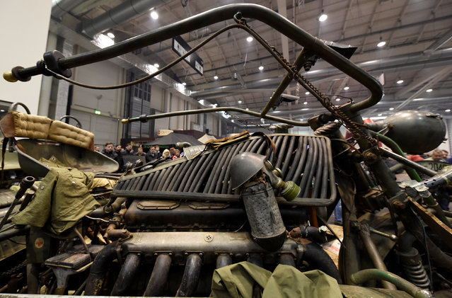"""A giant, so called """"Tank Bike"""", driven by an engine of a T55 tank and constructed of former military equipment is pictured at a bike fair in Hamburg, Germany, February 25, 2017. (Photo by Fabian Bimmer/Reuters)"""