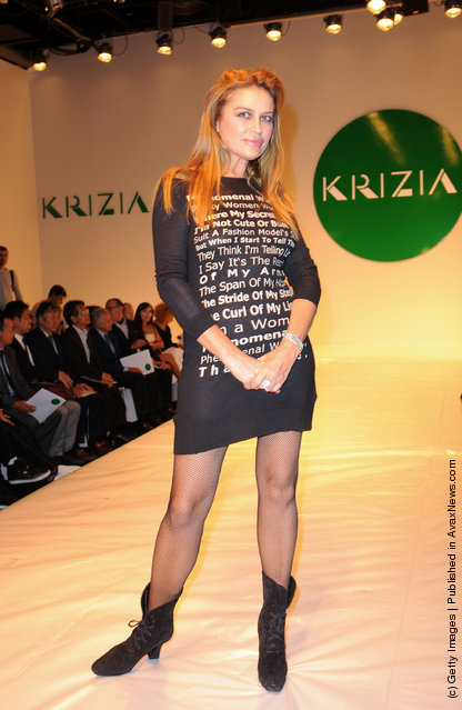 Lory Del Santo attends the runway at the  Krizia Spring/Summer 2012 fashion show as part Milan Womenswear Fashion Week