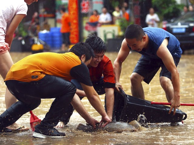 People catch a fish with a traffic cone on a flooded street after heavy rainfall in Dongguan, Guangzhou province, China, May 20, 2015. (Photo by Reuters/China Daily)