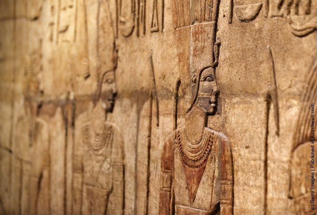 Detail on the Shrine of Taharqa in the Ashmolean Museum's new exhibition of artifacts from ancient Egypt and Nubia