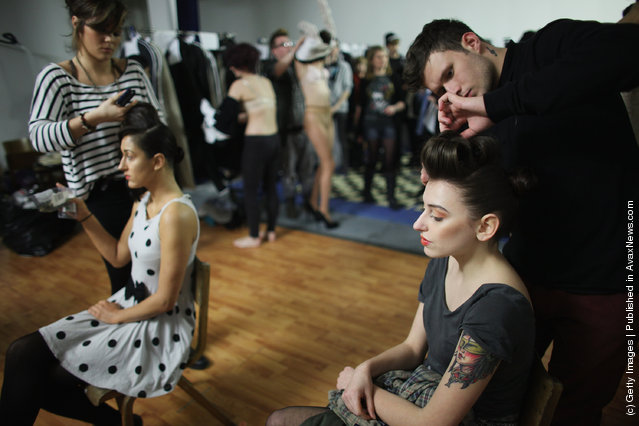 Models prepare for the Glasgow School of Art Fashion show