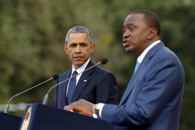 U.S. President Barack Obama (L) and Kenya's President Uhuru Kenyatta hold a joint news conference after their meeting at the State House in Nairobi July 25, 2015. (Photo by Jonathan Ernst/Reuters)