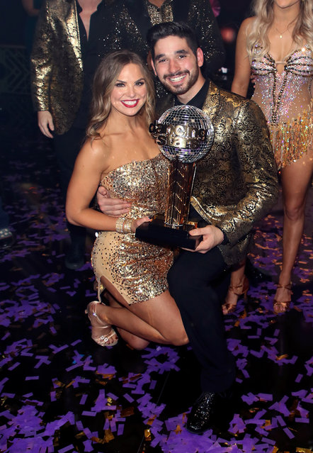 "Hannah Brown and Alan Bersten pose at ""Dancing with the Stars"" Season 28 Finale at CBS Television City on November 25, 2019 in Los Angeles, California. (Photo by David Livingston/Getty Images)"