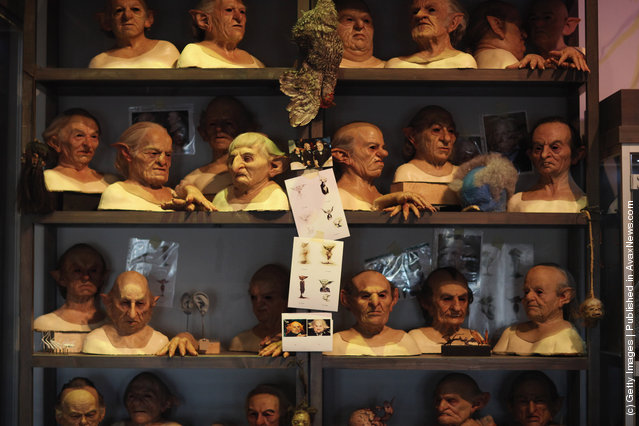 Masks worn by actors who played goblins at Gringotts Bank in the Harry Potter Films are displayed at the new Harry Potter Studio Tour at Warner Brothers Leavesden Studios