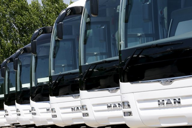 Buses are seen parked in a row at the MAN Bus Production Center in Ankara, Turkey, July 29, 2015. (Photo by Umit Bektas/Reuters)