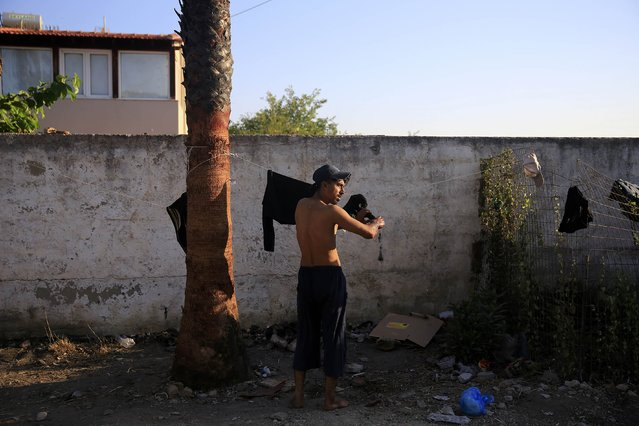 A migrant from Pakistan hangs his washed clothes to dry in the garden of a deserted hotel on the Greek island of Kos, August 13, 2015. (Photo by Alkis Konstantinidis/Reuters)