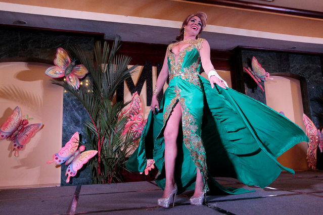 """A participant takes part in the """"Miss Gay Nicaragua 2016"""" beauty pageant in Managua, Nicaragua June 25, 2016. Picture taken June 25, 2016. (Photo by Oswaldo Rivas/Reuters)"""