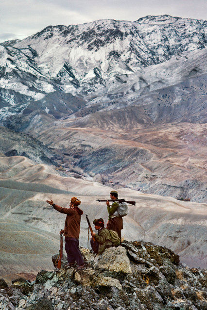 Logar province, 1984. Three mujahideen on a mountain in the Hindu Kush range. (Photo by  Steve McCurry/Taschen/Magnum Photos/The Guardian)