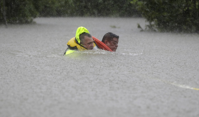Wilford Martinez, right, is rescued from his flooded car along Interstate 610 in floodwaters from Tropical Storm Harvey Sunday, August 27, 2017, in Houston, Texas. (Photo by David J. Phillip/AP Photo)