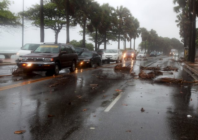 "Cars drive in the rain and past fallen pieces of palm trees in Santo Domingo, Dominican Republic, August 28, 2015. Tropical Storm Erika threatened Haiti and the Dominican Republic with heavy rain and strong winds on Friday as it swirled across the Caribbean and geared up for a run at south Florida, the U.S. National Hurricane Center said. At least 12 people were confirmed dead on the island of Dominica, Prime Minister Roosevelt Skerrit said on Twitter, adding: ""The number may be higher"". (Photo by Ricardo Rojas/Reuters)"