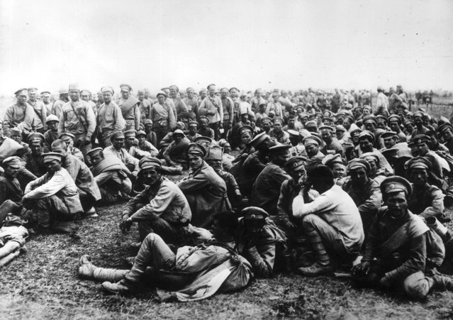 Soldiers of the Russian Second Army in Austria, following their defeat and capture by the Germans at the Battle of Tannenberg in East Prussia. 30th August 1914.