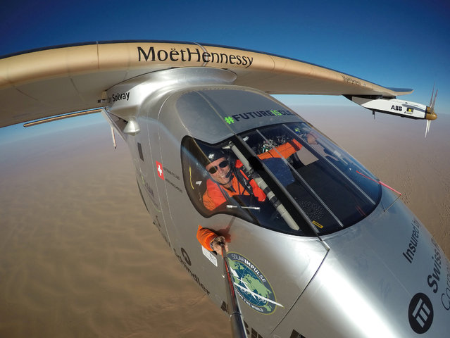 Selfie picture shows Swiss pioneer Bertrand Piccard during the last leg of the round the world trip with Solar Impulse 2 over the Arab peninsula July 25, 2016. (Photo by Jean Revillard/Bertrand Piccard/Reuters/SI2)