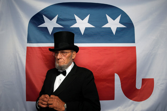 "This year's Republican National Convention and Democratic National Convention both saw passionate delegates in outrageous costumes – but that's where the similarities mostly end. Reuters photographer Jim Young gives a look at what it's like to be on the convention floor and talks to the delegates who make the conventions memorable. Here: George Engelbach, delegate from Missouri, Impersonator of former U.S. President Abraham Lincoln, poses for a photograph at the Republican National Convention in Cleveland, Ohio, United States July 20, 2016. Engelbach's message to the presidential nominee is: ""I hope you will appoint all Conservative Supreme Court Justices"". (Photo by Jim Young/Reuters)"