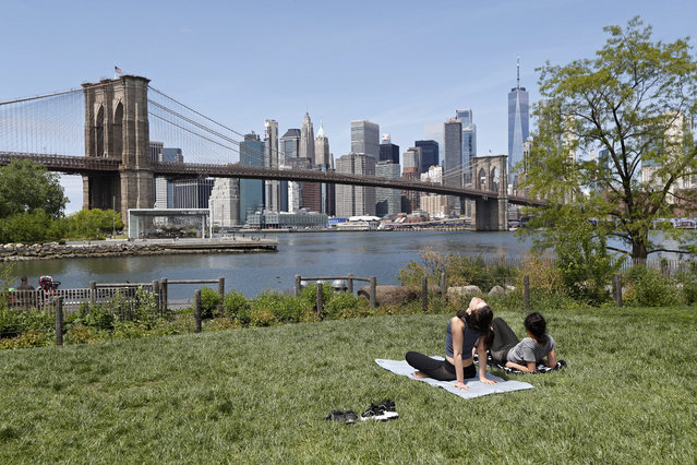 Two women, neither of whom were wearing protective face coverings, sunbathe on a grassy slope at Brooklyn Bridge Park during the current coronavirus outbreak, Sunday, May 17, 2020, in New York. (Photo by Kathy Willens/AP Photo)