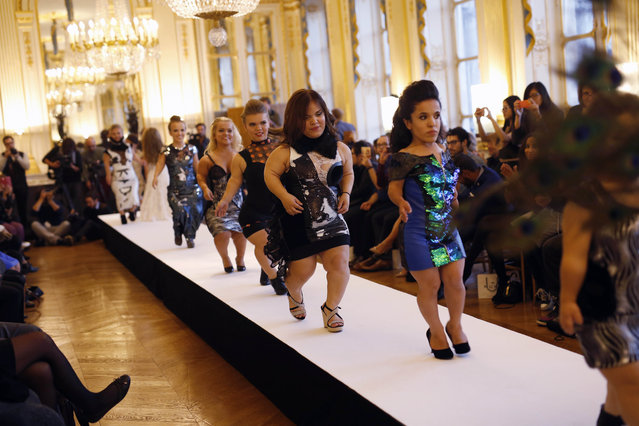 Models hit the catwalk at the French Ministry of Culture during the dwarf fashion show in Paris, France, Friday October 2, 2015. (Photo by Jerome Delay/AP Photo)