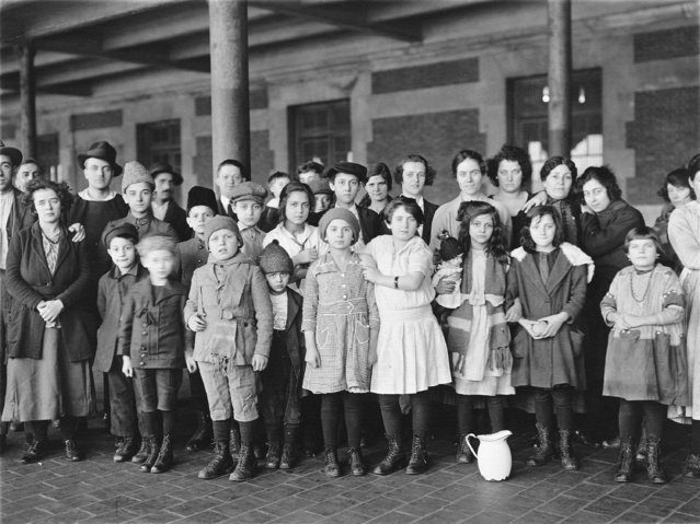 """Immigrant children, Ellis Island, New York, 1908"". (Photo by Brown Brothers)"