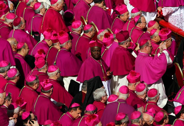 Bishops gather during the Inauguration Mass for Pope Francis in St Peter's Square on March 19, 2013 in Vatican City, Vatican. The mass is being held in front of an expected crowd of up to one million pilgrims and faithful who have filled the square and the surrounding streets to see the former Cardinal of Buenos Aires officially take up his role as pontiff. Pope Francis' inauguration takes place in front of Cardinals and spiritual leaders as well as heads of state from around the world. (Photo by Dan Kitwood)