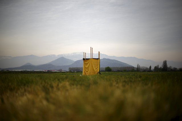 A toilet stands in the middle of an empty field on the outskirts of Santiago, Chile, October 8, 2015. (Photo by Ivan Alvarado/Reuters)